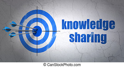 Education concept: target and Knowledge Sharing on wall ...