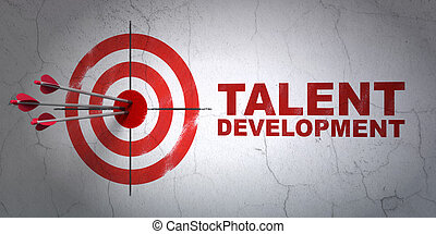 Success Education concept: arrows hitting the center of target, Red Talent Development on wall background, 3d render