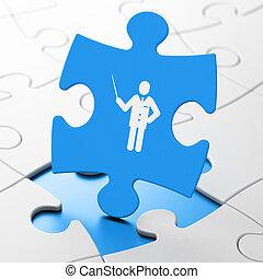 Education concept: Teacher on puzzle background