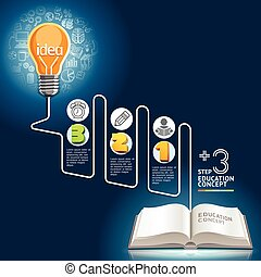 Education concept template. Light bulb and doodles icons set...