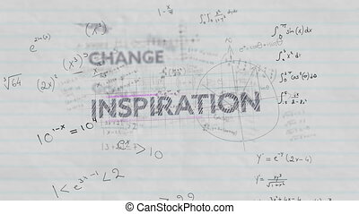 Education concept text against mathematical equations on white lined paper