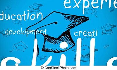 Education concept text against multiple graduations hats moving