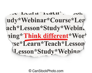 Education concept: Think Different on Paper background