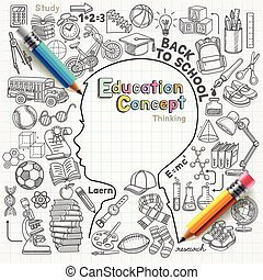 Education concept thinking doodles icons set. Vector...