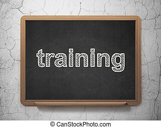 Education concept: Training on chalkboard background