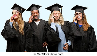 Education concept, university graduate woman and man group happy talking using a smartphone mobile phone