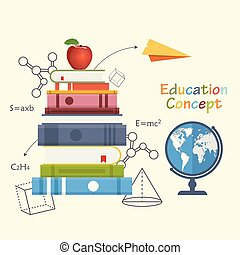 Education concept vector illustration in flat design.