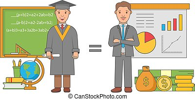 Education concept vector illustration in flat linear style