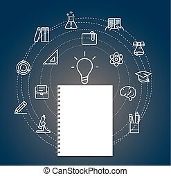Education concept. Vector illustration with thin icons