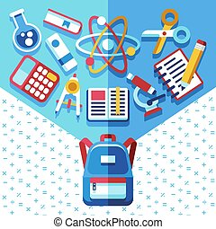 Education concept with backpack and supplies. Back to school vector background with schoolbag