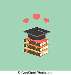 Education concept with mortarboard and books.