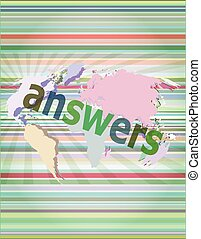 Education concept: words answers on digital background vector illustration