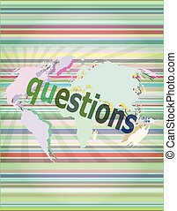 Education concept: words Questions on digital background vector illustration
