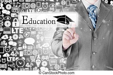 'education', concept, zakelijk, wijzende, man