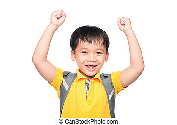Education Concept.Young asian boy smile gesture hands ready to school