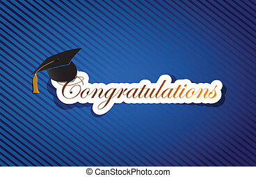 education congratulations sign background on a blue lines...
