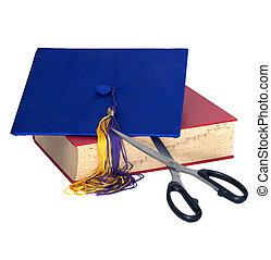 Education Cuts - Scissors Cutting Grad Hat