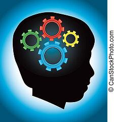 education, développement, autism, silhouette, enfant