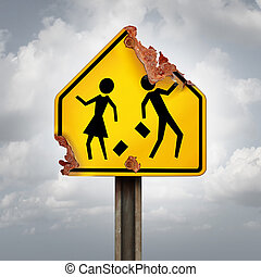 Education decline and neglected school problems concept as a rusted student crossing traffic sign as a symbol of negligence in public schools and teaching or funding challenges for special learning and literacy programs.