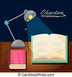 education desk to study with lamp and books