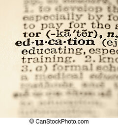 Education dictionary entry. - Selective focus of dictionary ...