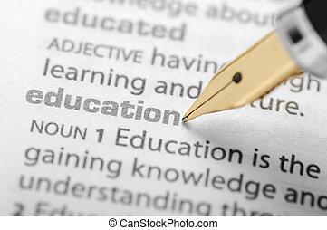 education, -, dictionnaire, série