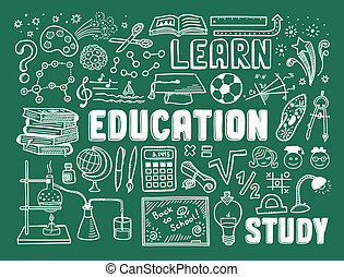 Education doodle elements - Hand drawn vector illustration...