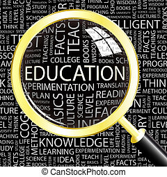 EDUCATION. Background concept wordcloud illustration. Print...