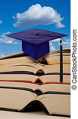 Education with books and graduation.