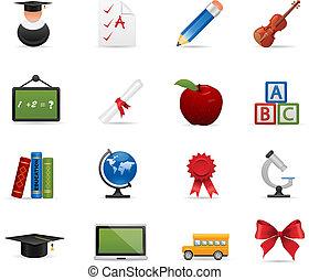 education, ensemble, icône