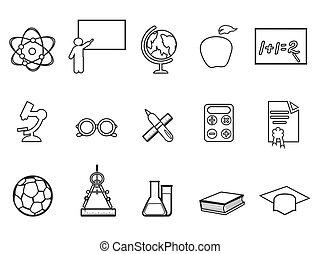 education, ensemble, linéaire, icône