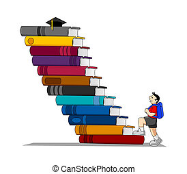 Education - Stock vector of a kid climbing a books