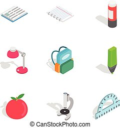 Education equipment icons, isometric 3d style