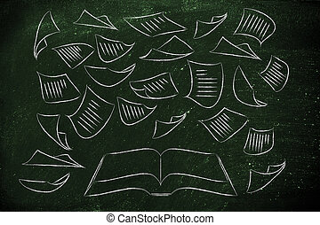 education, est, les, clã©, livre, à, pages, voler, autour de