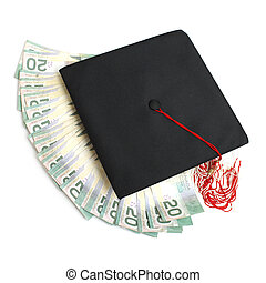 A grad hat with spread out money for an education or tuition fee concept.
