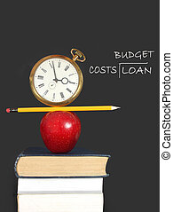 Education expenses - Apple, pencil and clock balanced on top...