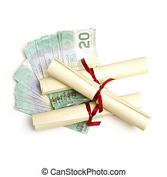 Education Expenses - A few diplomas with spread out money...