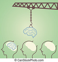 Education Factory - Crane lifting brain and put it in head