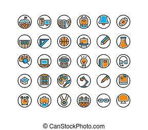 Education filled outline icon set.