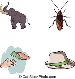 education, finance and other web icon in cartoon style.animal, clothing icons in set collection.