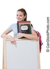 education financial aid Caucasian college student holds pile 100 (one hundred) dollar bills happy getting money help to subsidies costly university cost. Copy space board