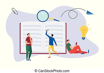 Education flat background with big books and people. People read and write book.