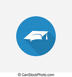 education Flat Blue Simple Icon with long shadow