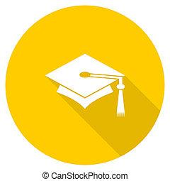education flat design yellow web icon - education flat...