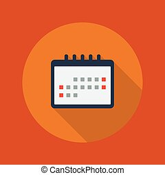 Education Flat Icon. Calendar - Education Flat Icon With...