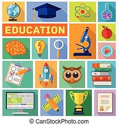 Education Flat Icon Set