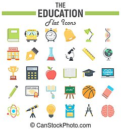 Education flat icon set, school sign collection