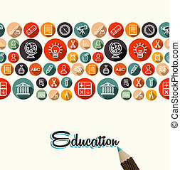 Education flat icons pattern