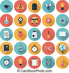 Education flat icons set - Modern flat icons vector...