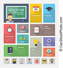 Education flat web elements with icons - Flat design style...
